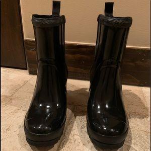 Sorel | glossy wedge rain boot